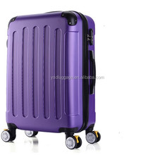 purple hard plastic suitcase on hinomoto luggage wheels
