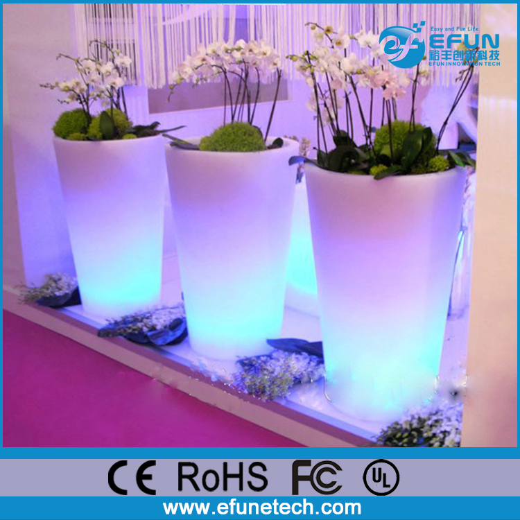 decorative rgb color flower illuminated vases,led glow planter flower pots