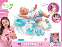 Wholesale plastic baby dolls with bottle diaper bath and eat accessories