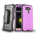 Belt Clip Holster For LG G5 Case, Brushed Metal Texture Hybrid Dual Layer Slim Fit Protector Case