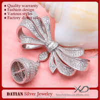 XD P886 CZ micro pave 3D bow tie purl findings 925 sterling silver dubai jewellery