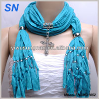 Sky Blue Charm Cross Necklace Jewelry Scarf