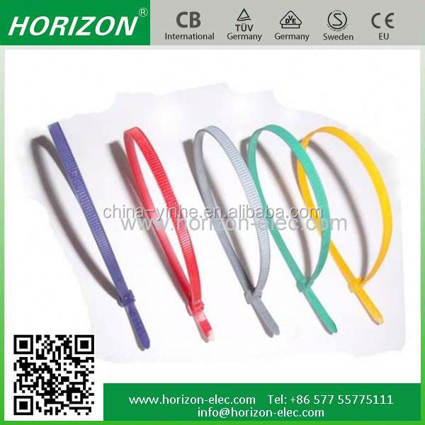 self-locking type factory price colorful nylon rubber cable tie