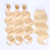 26 28 30 Inch Raw Virgin Natural 613 Blonde Hair Bundles With Lace Frontal Closure,Best 100 Percent Pure Chinese Hair Bundles