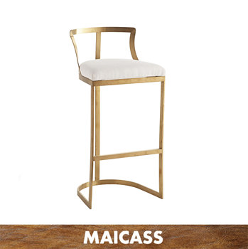Modern gold stainless steel leather upholstery bar stool