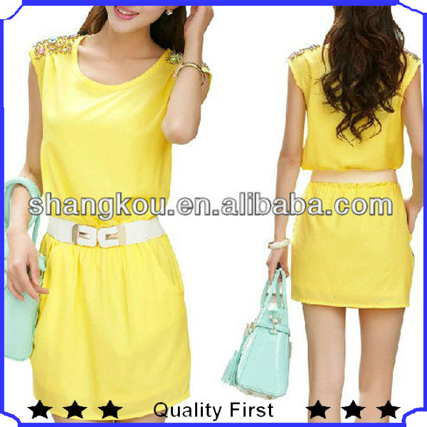 fashion sleeveless ladies chiffon dresses for lady casual clothes 2014 summer trend