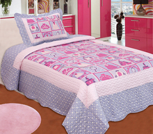 Allover 100% cotton baby girl quilt bed cover