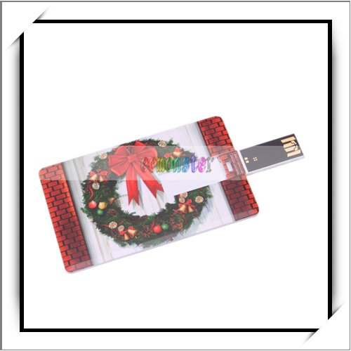 USB Memory Drive Christmas Wreath Pattern Credit Card 4GB