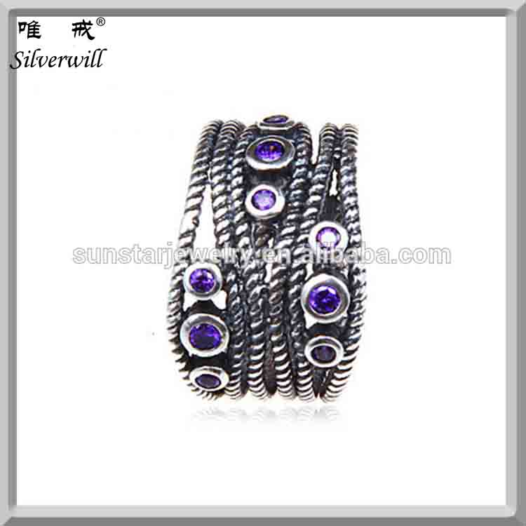 Simple silver rings European weave style purple cubic zircon antique ring for beloved