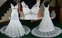 Hot sale lace &beading chapel train fish tail backless lace wedding dresses 2012