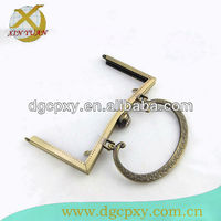 6.8 inch (17.3CM)antique brass round shape closure w/rhinestone embossing metal handles for handbag,sewing frame