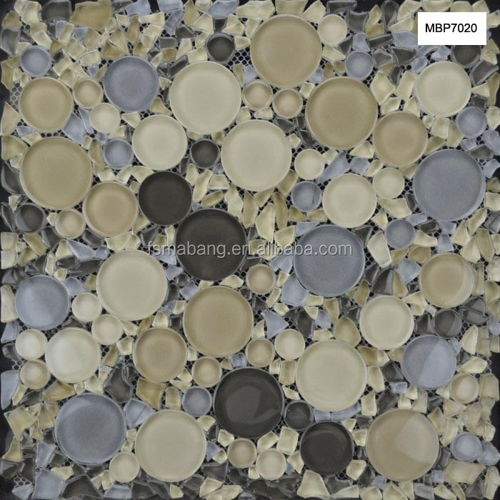 MBP7020 Mixed Color Round Crystal Mosaic Bubble Glass Tile