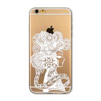 Phone Case for iPhone 6 6s Transparent Vintage White Girl painting PC Hard cover
