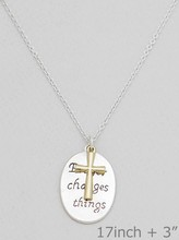 Prayer Changes Things Etched Cross Charms Pendant Necklaces
