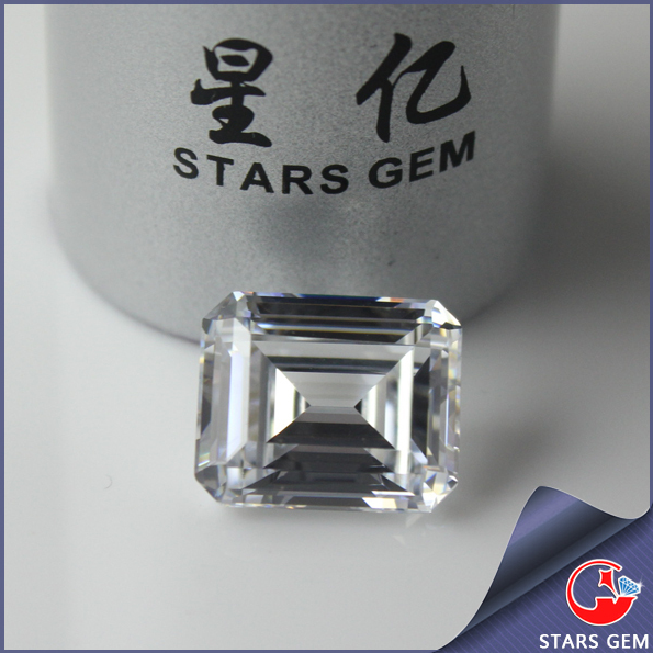 Special emerald cut CZ gems beautiful white synthetic gemstone for decoration