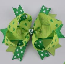 St. Patrick's Day theme hair bow clips