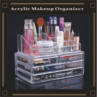 acrylic makeup strong storage clear box cosmetic cases with drawers