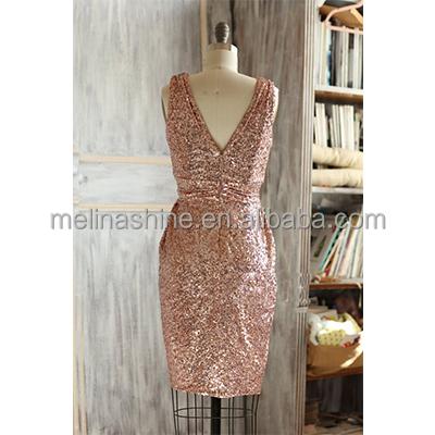 New Style Wholesale Metallic Sparkle Luxury Wedding Rose Gold Sequin Evening Dress