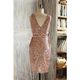 New Style Wholesale Metallic Sparkle Luxury Wedding Rose Gold Sequin Evening Dress