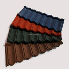 China tile light weight natural concrete roof tile colored stone granule coated steel roof tile