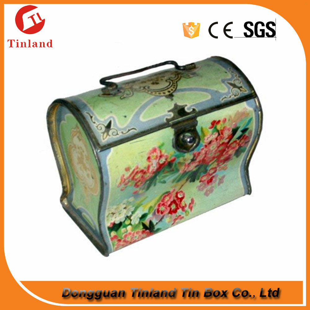 rectangle tin box with lock, plain tin lunch box for chocolate