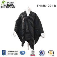 BLUE PHOENIX thick warm winter wool poncho black for men