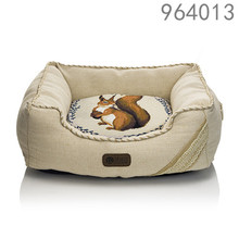 the best selling price luxury home garden pet prodcuts linen light color squares owl pattern dog beds with machine washable