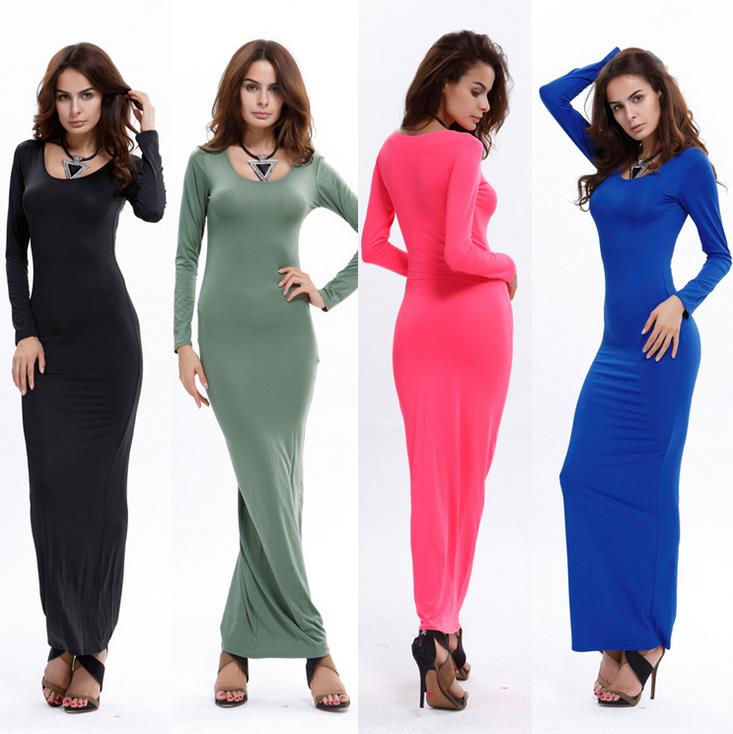 Sexy Slim Long Pure Color Evening Dress Long Sleeve Maxi Wrapping Dress