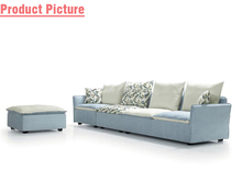 baby blue and gray modern cotton fabric living room sofa FS1005