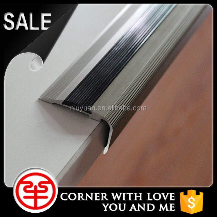 Aluminum stair accessories screwdown fixing non-slip surface metal stair nosing
