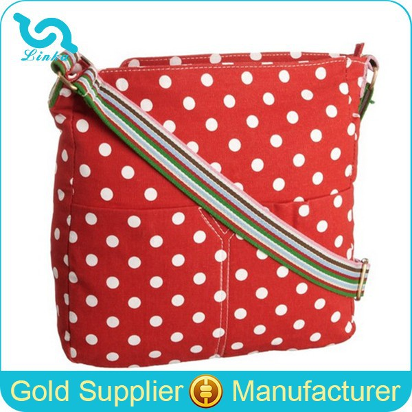 Red Polka Dot Canvas Shoulder Bag Stylish Woman Shoulder Bag Cross Body Bags Women