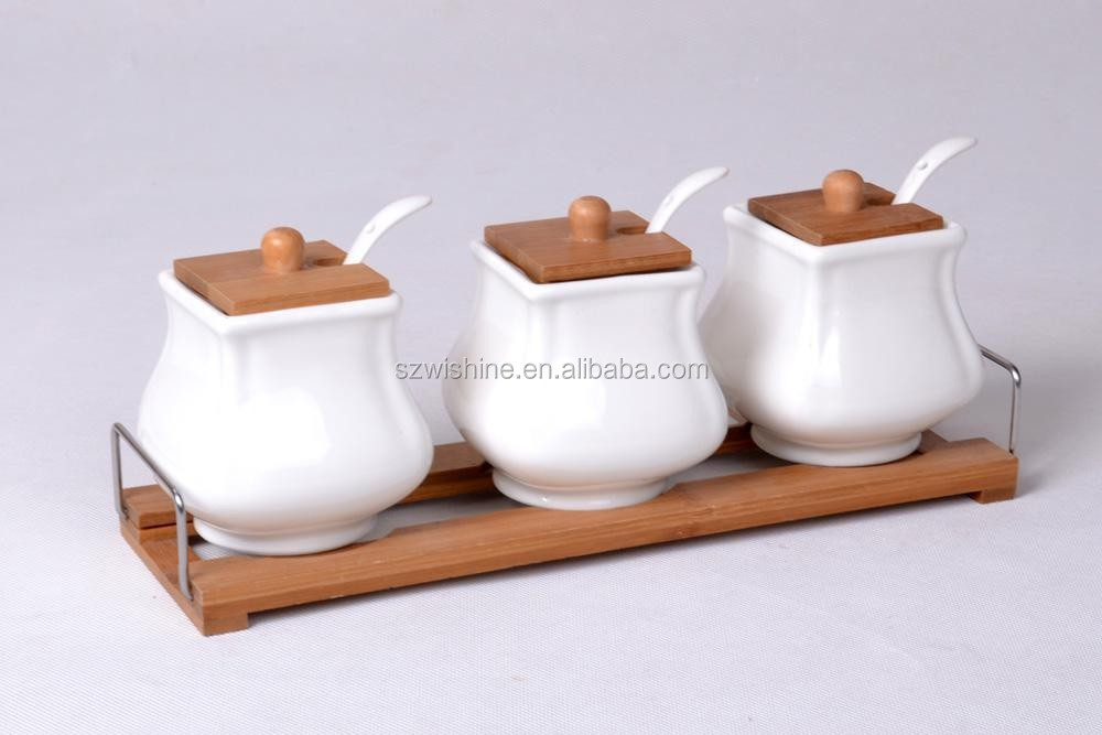white kitchen canister set ceramic with bamboo lid ceramic