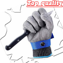 Level 5 Stainless Steel wire High quality <strong>Safety</strong> Cut Proof Protect Glove 100% Stainless Steel Metal Mesh Butcher Gloves ANSI 5