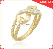 18K yellow golden plated braided style women infinity rings, new arrival infinity women infintiy engagement rings