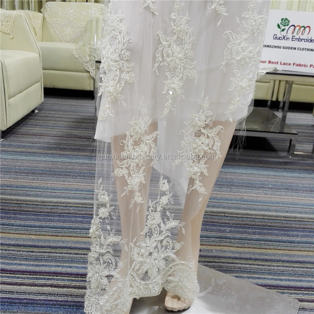 Elegant lace bridal with sequins end beaded lace fabric fashion wedding dress fabric lace fabric-104T