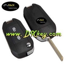 2 button flip remote car key cover remote key skins for Citroen key balde without groove with battery holder
