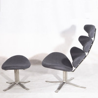 Indoor chaise lounge chairs Corona chair and ottoman Inspired By Poul Volther