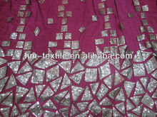 3mm sequin made square,triangle&diamond shape plain embroidered brocade fabric