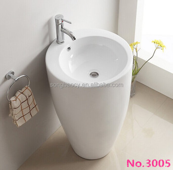 Outdoor Standing Ceramic Free Standing Pedestal Basin