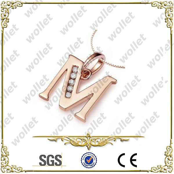 Rose Gold Plated CNC Setting Cubic Zirconia Stainless Steel Jewelry Initial Pendants