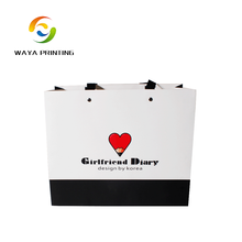 Custom logo printed promotional white handle paper carrier bag