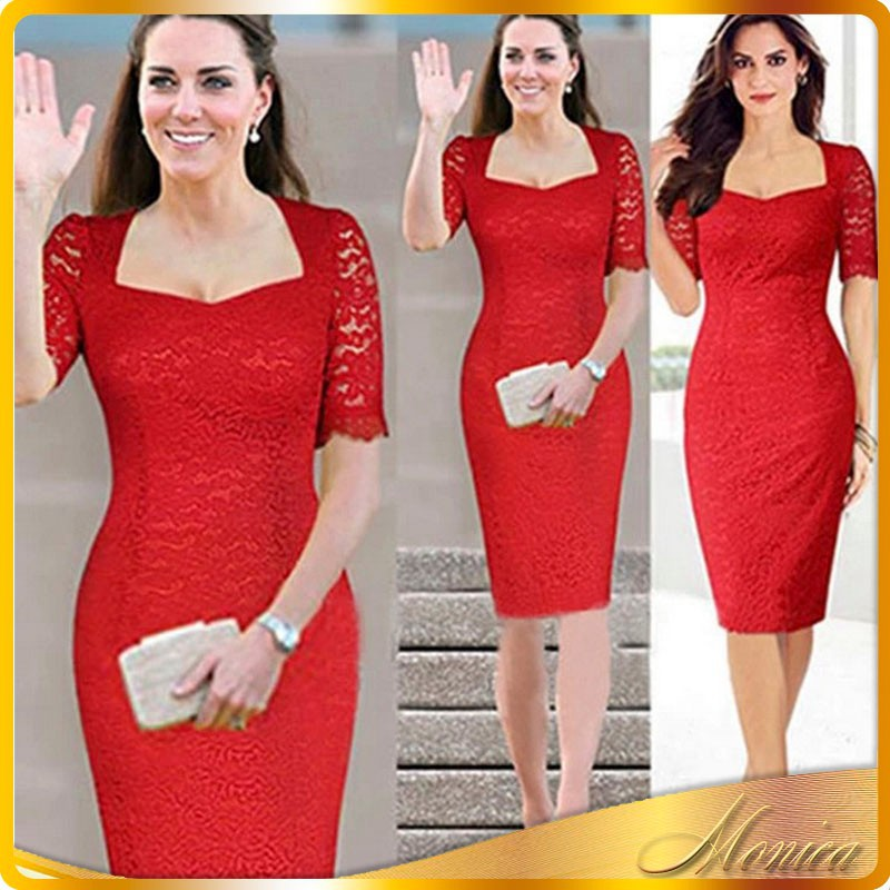 Latest Dress Designs For Ladies Dress 2016 New Women Fashion European Square Collar Lace Patchwork Half Pregnant Evening Dress