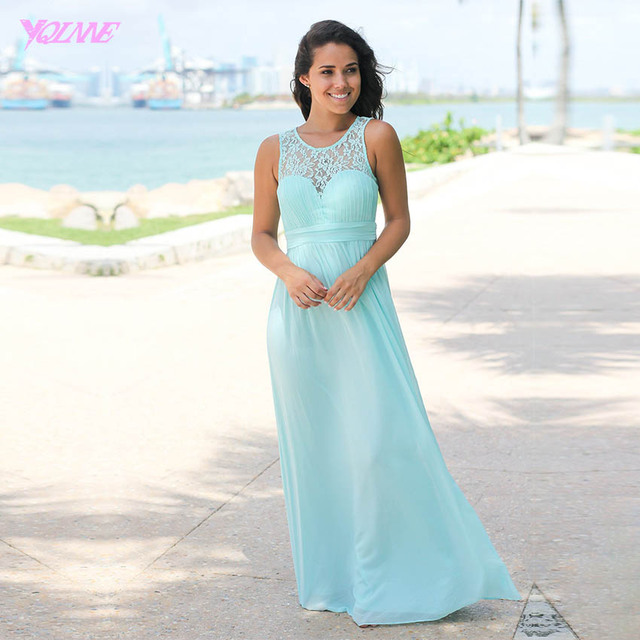 Mint Green Long Bridesmaid Dresses Lace Chiffon Pleated Maid of Honor Bridal Dress for Wedding