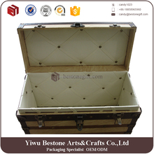 High Grade Multipurpose Home Storage Box,Luxury Custom Large Leather Wooden Storage Trunk Box