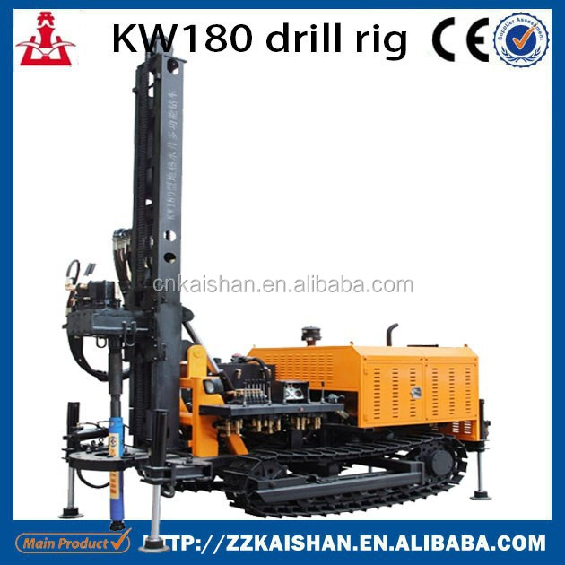 KW180 depth economic cost hydraulic portable water well drilling rig/DTH water well drill rig machine crawler mounted 180m depth