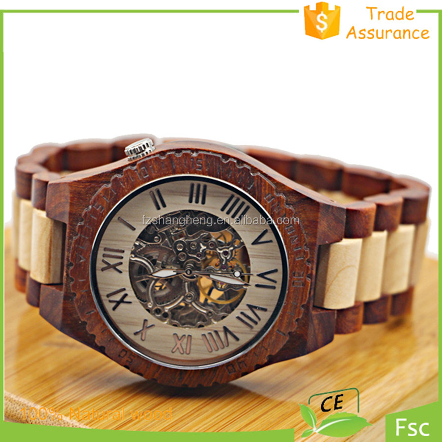 OEM Watches Seagull Automatic Movement Mechanical Wood Watch