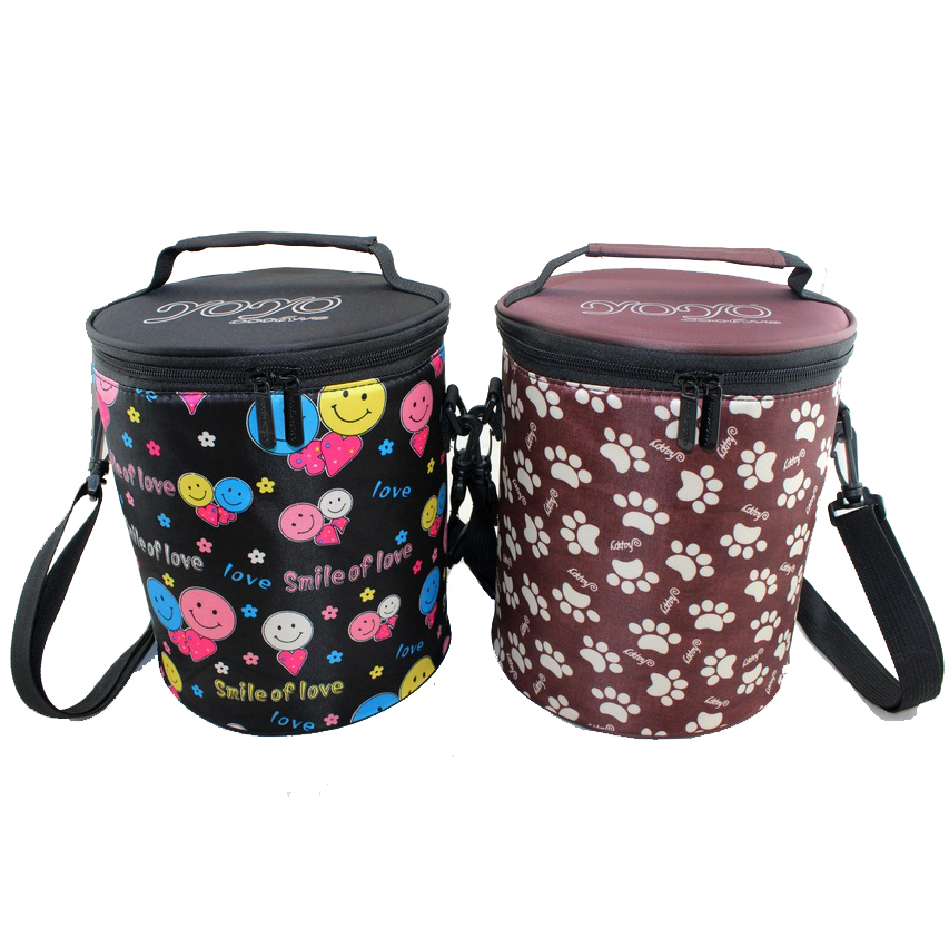 Shoulder strap custom insulated promotional lunch box round cooler bag