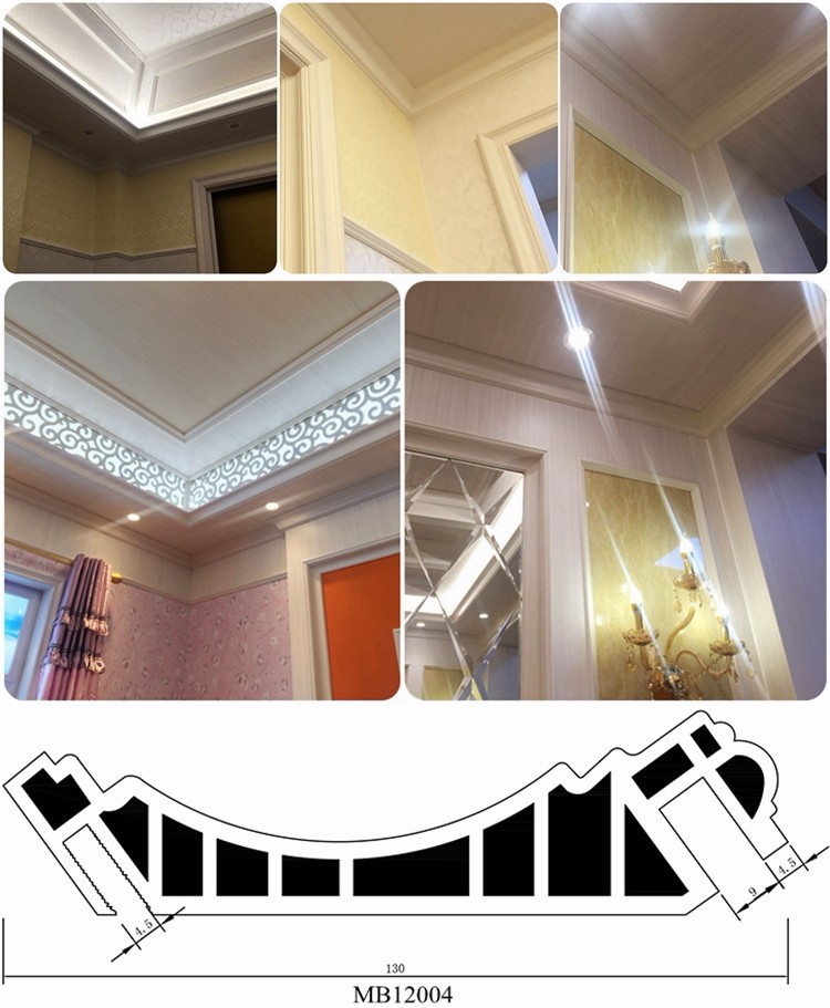 Free paint plastic material custom color ceiling decoration laminated ceiling designs for bedroom pvc cornice moulding
