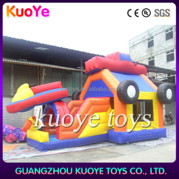 wholesale racing car inflatable jumping bouncer with slide