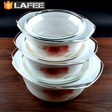 Hot Food Storage Thermos Containers Casserole Set / Opal Glass Cookware Soup & Stock Pots With Glass Lid